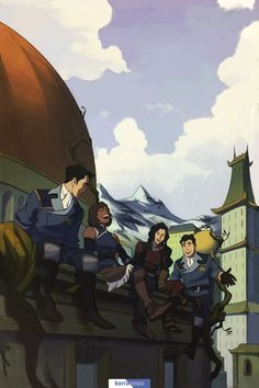 Team Avatar enjoys a moment together in Republic City, from The Legend of Korra: Turf Wars library edition. Avatar Aang, Avatar The Last Airbender Art, Team Avatar, Animes Wallpapers, Cute Wallpapers, Republic City, Avatar World, Avatar Series, Fanart