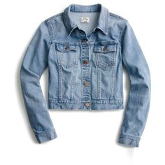 Women's J.crew Crop Denim Jacket ($110) ❤ liked on Polyvore featuring outerwear, jackets, cavanal wash, blue jean jacket, cropped cotton jacket, blue jackets, cropped denim jacket and cropped jacket