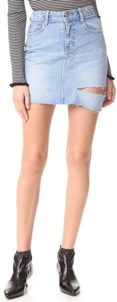 Sjyp One Side Cut Denim Skirt