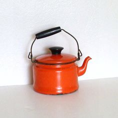 tangerine orange enamel mini tea kettle