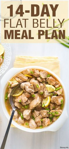 Try our 14 Day Flat Belly Meal Plan including recipes like this Crockpot Lemon Chicken! #flatbellymealplan #mealplanning #menuplanning