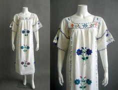 1970s mexican dress vintage oaxacan dress white cotton hand embroidery bohemian   £55.00 (BIN)