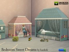 Sweet childlike bedroom in pastel colors that adapts to the child when it grows because it has the bed in two different sizes Found in TSR Category 'Sims 4 Kids Bedroom Sets'