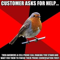 Customer asks for help... then answers a cell phone call making you stand and wait for them to finish their phone conversation first | Retail Robin