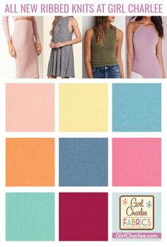 Girl Charlee Fabrics New Arrivals today are full of super soft 4x2 wide wale rib knit fabrics that are ready to be made into on trend, comfy clothing and accessories. From swim cover ups, dresses, tanks, hairbands, tees, and also great for necklines and sleeve trim and finishing. Shop now