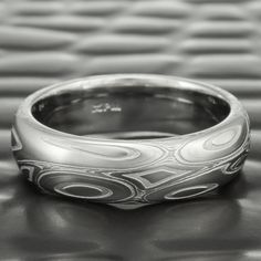Damascus Ring, Damascus Steel, Ring Displays, Unique Rings, Wedding Bands, Wedding Ring, Rings For Men, Silver Rings, Stream Bed