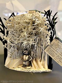 "This paper sculpture, dedicated to UNESCO Edinburgh City of Literature, titled ""LOST (albeit in a good book)"", sculpted from a copy of James Hogg's Private Memoirs and Confessions of a Justified Sinner."
