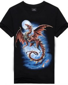 574f362e Cool 3d dragon tshirt for men cotton short sleeve black t shirt Chemise  Dragon, Casual