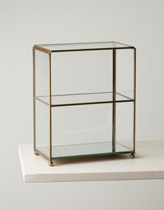 Small, elegant, glass cabinet for your jewellery or perfume bottles. The sides of the cabinet and the shelves are made entirely of glass with brass joints. Decor, Furniture, House Design, Jewellery Storage, Interior, Home, Cabinet, Display Cabinet, Wood Boxes