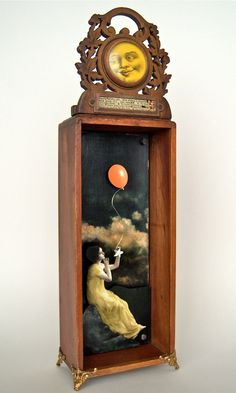 Mixed Media Assemblage Shadow Box - What To Do on a Starless Night No. 2. $65.00, via Etsy.