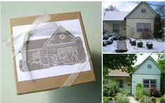 Adorable stamps on etsy- send a picture of your home and get a wood stamp of it! great housewarming idea!
