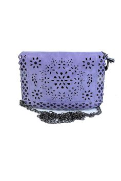 """Laser cut PU fabric purse. Double zip compartments. Comes with chain strap.   Measures: 7"""" X 5.5""""; 24"""" strap  Cutout Mini Purse by Cherie Bliss. Bags - Cross Body Canada"""