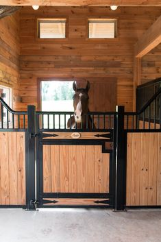 The European-inspired Tuscany horse stall designer series is classy and durable. The custom-bent designer stall front has attracted many customers for it's added ventilation and unique style. When it comes to stalls for horses, there are none better than Dream Stables, Dream Barn, Horse Stables, Horse Farms, Horse Barn Decor, Horse Barn Designs, Horse Barn Plans, Prefab Barns, Barn House Kits