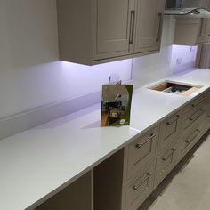 Bianco De Lusso - Henlow, Bedfordshire - Rock and Co Granite Ltd Galley Style Kitchen, Kitchen Styling, Kitchen Cabinets, Quartz, Home Decor, Decoration Home, Room Decor, Cabinets, Home Interior Design