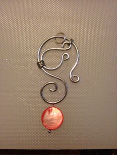 Sterling Silver Wire Wrapped Necklace Pendant with Pink Shell Bead on Etsy, $14.00
