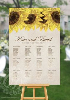 $39 USD  Sunflower Wedding Seating Chart or Seating Plan RUSH ORDER by ColourfulDesignsInc