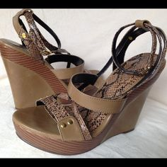 """Animal Print Wedges by Shoedazzle size 7.5 Animal print wedges size 7.5 wedge at 5"""" with 1"""" platform worn gently Shoe Dazzle Shoes Wedges"""