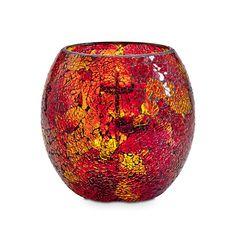 Auringonlaskun hehku -somiste Kynttiläpurkille   P92556   Eläväpintaista lasia. Mukana lasisia  koristehelmiä ja pronssinvärinen, metallinen yleiskäyttöinen teline Tuikkiville. Korkeus 19 cm. (Kynttiläpurkki,  Pilarikynttilä, Tuikkiva)