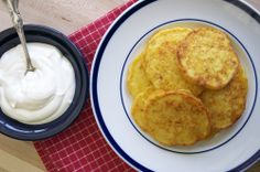 Garlic-Cheese Corn Pancakes - serve with shredded chipotle pork and toppings