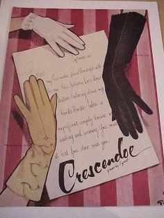 Rene Gruau art for Crescendoe womens gloves ad