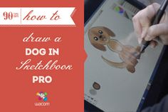 Draw only half of what you want, and let the symmetry function of Sketchbook Pro do the rest. #90tips and Renee Busse teach you how to draw a dog.  #illustration #sketchbookpro