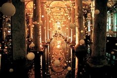 This was taken in Istambul, Turkey in a place called YEREBATAN SARAYI. It is a huge cistern, which was founded by Justinianus I, a Byzantine Empire (527-565).    Usually there is nothing in that place but I happened to be there when those balls were hanged for special effect. You can't see it in the photo but there was also this magical music playing there. The most unusual place I've ever seen. by magda biskup