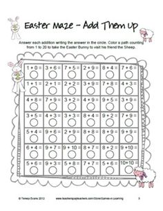 4 Easter Math Mazes from Games 4 Learning - FREEBIE- my first graders thought this was a fun challenge