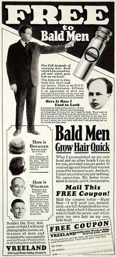 1929 Ad Vintage Quackery Vreeland Hair Tonic Baldness Cure Dandruff Hair YPP3