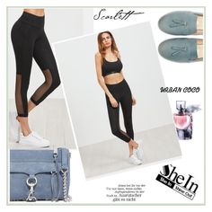 """""""WIN SheIn Black Wide Waistband Mesh Panel Crop Leggings"""" by albinnaflower ❤ liked on Polyvore featuring Lancôme and Rebecca Minkoff"""