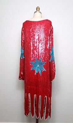 EXQUISITE Red Sequin Blue Floral Dress / Great Gatsby от braxae