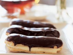 Chocolate-Frosted Éclairs | If éclairs seem old–fashioned and out of style, perhaps it's because good ones are so hard to find. The best are absolutely spectacular. Joanne Cha...