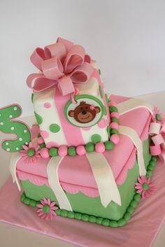 monkey cake    For more Monkey Girl Baby Shower Ideas visit   http://www.modern-baby-shower-ideas.com/Monkey-girl-baby-shower.html