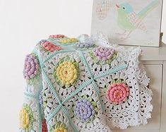 CROCHET PATTERN: teddy bear crochet baby blanket pattern and step-by-step tutorial, Häkelanleitung, baby afghan Crochet Squares, Baby Afghan Crochet Patterns, Crochet Chart, Baby Blanket Crochet, Baby Patterns, Crochet Baby, Crochet Blankets, Granny Squares, Flower Crochet