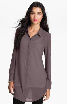 Frenchi® Chiffon Tunic Shirt (Juniors) available at #Nordstrom