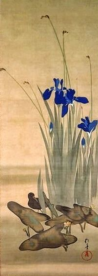 Irises, from a set of twelve Japanese hanging scroll paintings of birds and flowers of the twelve months by Sakai Hoitsu. Japanese hanging scroll. Early nineteenth century.