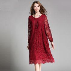 eaa85d74e402  US  29.70   amp  plus size long design women spring hollow lace dress black