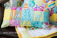 Hand Embroidered Patchwork Brightly colored Hello Accent Pillow on Etsy, $40.00