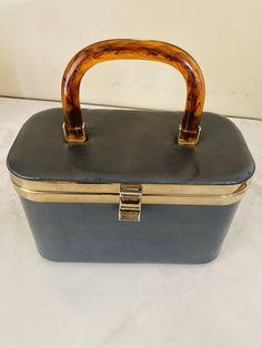metal triming 1960/'s Brown Suede leather bag