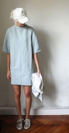 Pale blue dress, white cap, silver shoes // Sport luxe