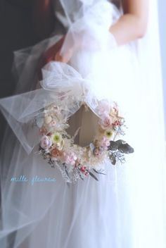 tutu* wreath bouquet :チュールとスモーキーカラーのリースブーケ