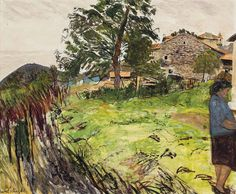 Carel Weight French Farm with Woman in Blue Seascape Paintings, Landscape Paintings, Landscapes, Royal Engineers, Tate Gallery, British English, Royal College Of Art, Rome Travel, Victoria And Albert Museum