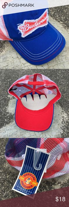 NWT Trucker Hat SnapBack NWT Trucker Hat Snap Back in Perfect Condition!  Brand Budweiser Anhauser Busch Official Product Color Red White & Blue Unisex Cap for Men & Women Budweiser Accessories Hats