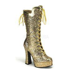 Block Heel Platform Lace Up Calf Boot  67.95 Gold Glitter.  MardiGras 4bef93e2b94