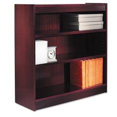 Alera Square Corner Bookcase, Finished Back, Wood Veneer, 3-Shelf, 36 W by 12 D by 36 H, Mahogany Alera http://www.amazon.com/dp/B003I85W7W/ref=cm_sw_r_pi_dp_178Ytb11W6HXCTHB