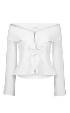 This **Carla Zampatti** Bare Shoulder jacket features an off the shoulder silhouette with a ruffle front detailing and split long sleeves.