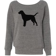 Dog Slouchy Off Shoulder Sweatshirt Women ($33) ❤ liked on Polyvore