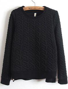 Zipper Jacquard Black Sweatshirt 16.67