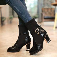 a9c90e9d1b39 Patchwork Ankle Boots Buckle Platform Boots High Heels Shoes Woman