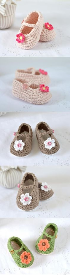 Mary Janes Baby Shoes Crochet Pattern