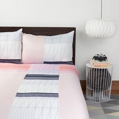 Color Block Duvet Set Pink//